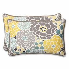 Pillows feature a collage of large flower blooms in gray, yellow and light blue Provides exceptional comfort and modern style Sewn seam closure Matchin 31350972