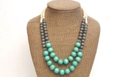 Turquoise and Grey Statement Necklace / Mint Green and Grey Wood Bead Necklace / Anthropologie Necklace / Turquoise Beaded Necklace on Etsy, $31.59 CAD