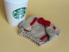 Travel mug cozy. Bow ties are cool Coffee sleeve. Cup sleeve Beige red bow tie Eco-friendly Cup cozy Tea cozy - crochet mug cozy Cup Sleeve, Coffee Sleeve, Red Bow Tie, Bow Ties, Diy Birthday Gifts For Mom, Tea Cozy, Cozy Coffee, Crochet Coffee Cozy, Yarn Colors