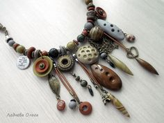 Polymer Clay Сernit Awesome necklace by Lednova Olga
