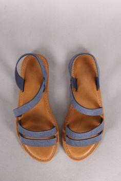 8b6e927dedb2d Bamboo Denim Print Strappy Asymmetrical Flat Sandal Denim Sandals