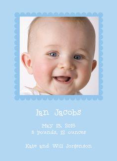 Blue Scallop Photo Birth Announcements