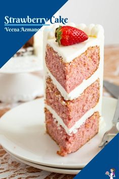 This moist strawberry cake is packed with real strawberries, no jello or artificial flavoring. An oil-based cake, deliciously moist, soft with a tender crumb. Frosted with my popular sweet velvet American buttercream this cake is perfect to celebrate fresh strawberries in season or at any time of the year using frozen strawberries. #strawberrycake #strawberry #cake #cakerecipe #layercake #recipes