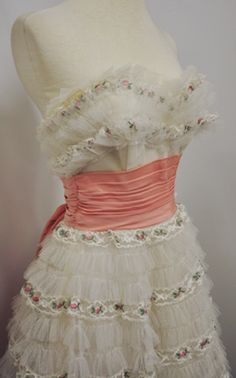 1950's Vintage Prom Dress Strapless Lace & Tulle Cupcake Pink Flowers, Cinch Waist, Large Bow