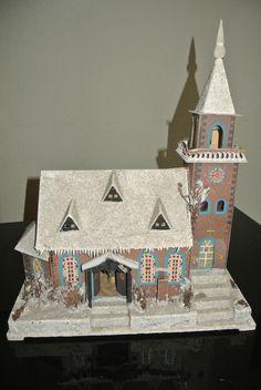 * Altes Lichterhaus - Kirche - Erzgebirge ca.1940 * in Antiquitäten & Kunst, Volkskunst, Erzgebirge | eBay