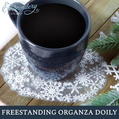 Grace your home with this delicate freestanding organza doily! Create stunning decor for tablescapes and more using your embroidery machine. Lace Embroidery, Embroidery Ideas, Machine Embroidery Designs, Doilies, Tablescapes, Delicate, Sewing, Create, Tableware