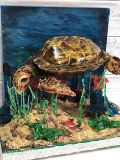 Penelope the seaturtle - cake by Eleni Orfanidou Beautiful Cakes, Amazing Cakes, Realistic Cakes, Sea Cakes, Fondant Animals, Chocolate Sculptures, Sculpted Cakes, Gum Paste Flowers, Character Cakes