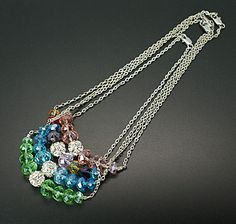 Glass Necklaces, with Brass Rhinestone Beads, Lead Free and Nickel Free Brass Lobster Claw Clasps and Iron Chains