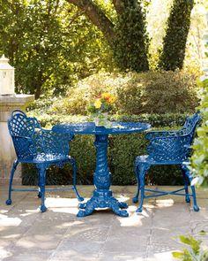 Patio Azul, Blue Patio, Patio Shade, Outdoor Rooms, Outdoor Decor, Outdoor Living, Outdoor Benches, Outdoor Areas, Patio Furniture Sets