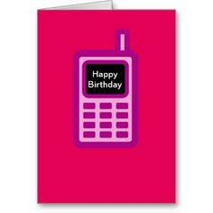 Happy birthday with pink cell phone add photo card birthdays happy birthday with pink cell phone greeting card m4hsunfo