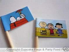 20 Cup Cake Flags Toppers - SNOOPY CHARLIE BROWN BIRTHDAY PARTY FOOD PICK on eBay!