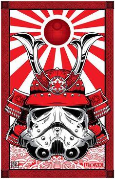 ARTIST: Randy Adlawan aka Dragon (US) |  via: #Yellowmenace |  ● Buy Star Wars Art Prints & More @ https://society6.com/yellowmenace/collection/art-from-a-galaxy-far-far-away?curator=yellowmenace |  #StarWars #AsianInspired #popart #fanart #samurai #Stormtrooper