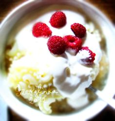 Applesauce pasta with cream and berries    #pasta #food #dessert #berries #raspberries #cream #breakfast