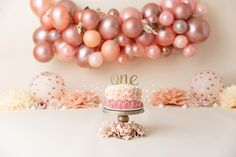 ROSE GOLD Balloon Garland Kit - 7 Foot DIY Balloon Garland in Shades of Rose Gold - Custom Balloons - Rose Gold Back Drop - Rose gold party ideas - recipe cake 1st Birthday Photoshoot, 1st Birthday Party For Girls, 1st Birthday Pictures, Birthday Ideas, 1st Birthday Decorations, Baby Cake Smash, 1st Birthday Cake Smash, Cake Smash Cakes, Cake Smash Outfit