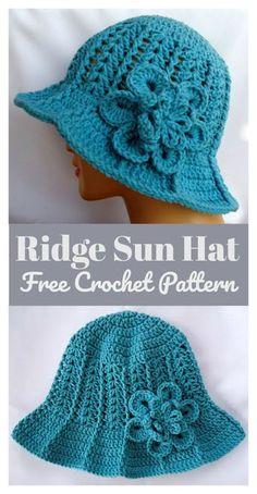 Ridge Sun Hat Free Crochet Pattern  freecrochetpatterns Crochet Cap ca0b06cfa190
