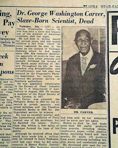 A great soul - George Washington Carver George Washington Carver, Library Signs, We The People, Black People, Vintage Newspaper, American Story, History For Kids, African American History, History Facts