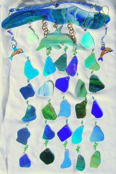 Fantasy Dolphin Stained Glass Wind Chime by GlassofManyColors, $79.95