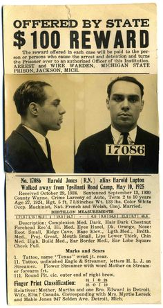 Wanted Poster 1925... seriously specifc!