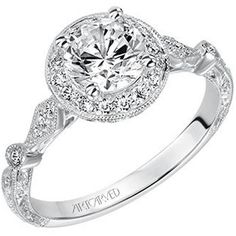 """Artcarved """"Crystal"""" 14K White Gold Vintage Style Diamond Halo Engagement Ring Featuring Hand engraving and 0.20 Carats of White Diamonds. Style 31-V518ERW."""