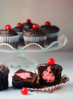 Mmm Double Chocolate Cherry Filled #Cupakes