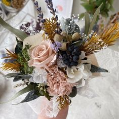 ピンクベージュ・イエローのミニ花束 | ハンドメイドマーケット minne Minne, Floral Wreath, Wreaths, Decor, Floral Crown, Decoration, Door Wreaths, Deco Mesh Wreaths, Decorating