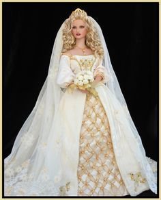 ~ Medieval Wedding Barbie Doll ~ Franklin Collection brunette not a Barbie Barbie Bridal, Barbie Wedding Dress, Wedding Doll, Barbie Gowns, Barbie Dress, Barbie Clothes, Wedding Dresses, Barbie Doll, Dolls Dolls