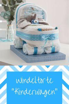Dieser Kinderwagen aus Windeln ist keine alltägliche Windeltorte. Ein nützliches und süßes Geschenk zur Geburt - leicht nachgebastelt. Windeltorte Anleitung, Windeltorte selber basteln, Windeltorte Kinderwagen