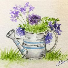 Esther Lyn Hall: Art Impressions Watering Can; Watercolor Sketchbook, Watercolor Projects, Watercolor Techniques, Watercolor Cards, Watercolor And Ink, Watercolor Flowers, Watercolor Paintings, Watercolors, Art Floral