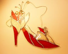 High Heel Red Shoe With Flowers. Stained Glass Suncatcher.