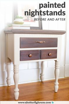 Two-toned thrifted nightstand before and after shows all the details of the transformation! #furnitureflip #thrifted Two Tone Furniture, Diy Furniture Redo, Thrift Store Furniture, Diy Furniture Projects, Painted Furniture, House Projects, Furniture Refinishing, Refurbished Furniture, Recycled Furniture