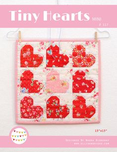 PDF Quilt Pattern - Tiny Hearts by ellisandhiggs on Etsy https://www.etsy.com/listing/492481648/pdf-quilt-pattern-tiny-hearts