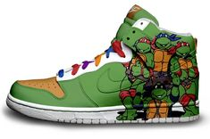 Stylin' Pairs of Pop Culture-Inspired Shoes You're never too old for Teenage Mutant Ninja Turtles sneakers. :)You're never too old for Teenage Mutant Ninja Turtles sneakers. Nike Outfits, Daft Punk, Teenage Mutant Ninja Turtles, Teenage Turtles, Ninga Turtles, Ninja Turtle Party, Nike High Tops, Sr1, Custom Shoes