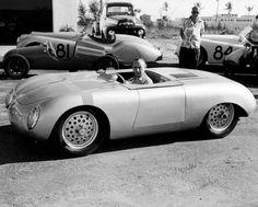 "Got it from the Porsche archives. The caption reads, ""The US automobile importer Max Hoffman in a 'Glöckler-Porsche' Porsche 550, Porsche Autos, Porsche 356 Speedster, Porsche Cars, Porsche Carrera, Ferdinand Porsche, Audi, Bmw, Ferrari"