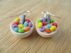 Fruit Loops Cereal Bowl Earrings Handmade by FlourCityCharms