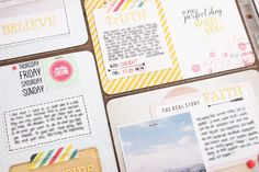 Love that striped paper, with journaling and a filler card  Blinks of Life studio calico project life