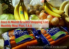 Once-A-Month Grocery Shopping List + Monthly Meal Plan