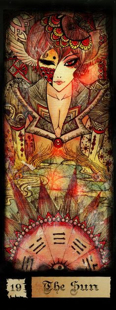 Beautiful Tarot art for the Sun Card.