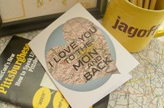 Pittsburgh Note Cards- I Love You To The Mon And Back, Pennsylvania Cards, Maps, Mon Valley, Yinzer, Pittsburgh Stationery by Papyrusaurus on Etsy