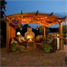 The Outdoor GreatRoom Company Sonoma 12' W x 12' D Pergola...first Pergola I've ever seen that I though I love this!  I like the curved boards, adds a softness or coziness to it.