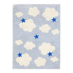 Teppich 'Abbey' Wolken & Sterne blau/weiß 100x130cm