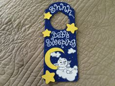 Wooden baby sleeping door hanger. Great for by ButterflyBlessing