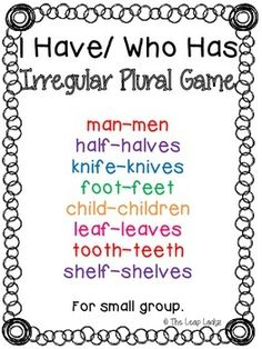 Irregular Plural Game- I Have, Who Has. This 9 card set is great for individual/small group work. Teaching Nouns, Teaching Writing, Speech Activities, Language Activities, Speech Language Pathology, Speech And Language, Word Study, Word Work, Irregular Plural Nouns