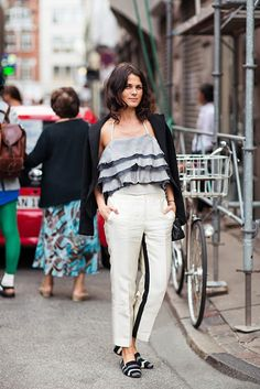 This flowy layered halter top with cropped trousers and loafers are perfect for spring