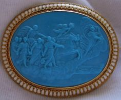 Victorian Carved Turquoise Cameo Mounted In 15k Gold And Enamel, Depicting Aurora & The Chariot of Apollo, After A Fresco By Guido Reni (1614) In Palazzo Rospigliosi, Rome - Italy   c. 1850/1860 - Frame Could Be English