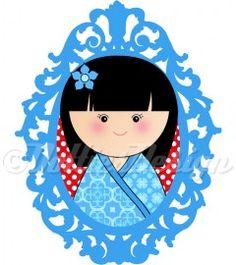 Full Color strijk applicatie Kokeshi Dottie blauw, 15 x 11 cm  #DIY