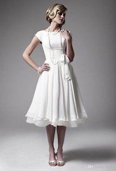 New 2014 Simple Elegant Vintage Retro Tea Length Beach Short Sleeve Scoop Bow Empire Waist White Chiffon And Satin Bridal Wedding Dresses -- mother of bride dress