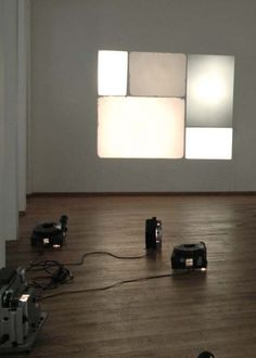 Setting #14 (16mm-projector, Super8-projector, 3 slide-projectors), 2008 by Christoph Meier.