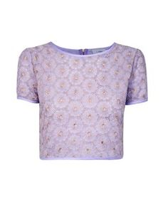 Lashes Of London Parma Metallic Lace Cropped Tee