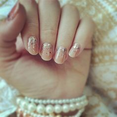 Nude #nail with graduated chunky #glitter..pintrest idea success! BONUS: This look works SO well for that in-between stage of #acrylic #manicures to mask the new growth! love it!
