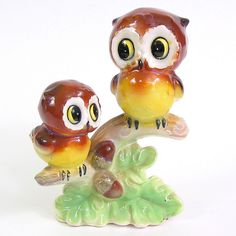 Owls Perching on Oak branch with Acorns - Vintage Japan by TipsyTimeMachine, via Flickr
